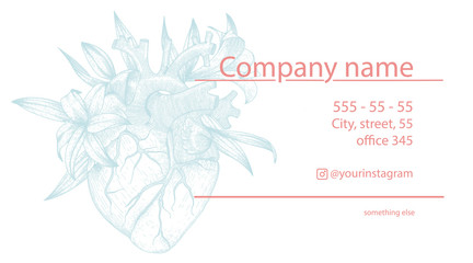 Vector business card for cardiologist with realistic heart and lily flowers . Vintage illustration with anatomy organ for promotion
