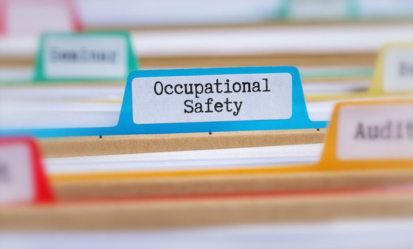 File folders with a tab labeled Occupational Safety