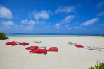 red sunbeds and white sand on the beach of the island of Mauritius