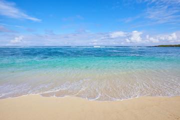 blue ocean off the coast of the island of Mauritius