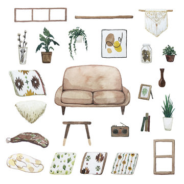 Set of watercolor theme: cosy home style. cozy home vibes. interior decor