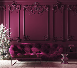 Cozy Christmas home interior with Xmas tree and sofa, Classic style, purple color interior, 3d render