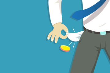 Vector illustration of poor businessman hand showing his empty pockets for design. Fotomurales