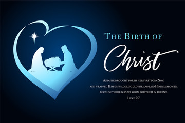 Christmas scene of baby Jesus in the manger with Mary and Joseph silhouette in heart. Christian Nativity with lettering The Birth of Christ and Bible text Luke 2:7, vector banner