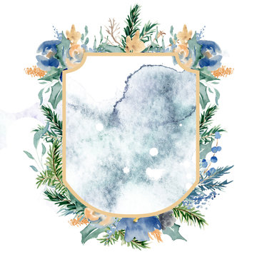 Watercolor crest winter floral frame template