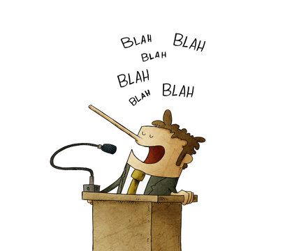 man gives a speech without content in a lectern while his nose grows. concept of political lies. isolated