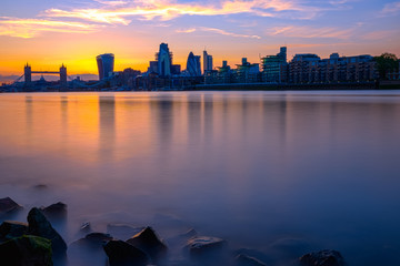 London skyline with the River Thames during sunset