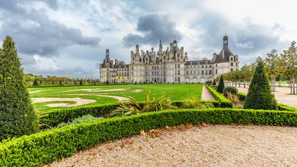 Chateau de Chambord, view from garden, in Loire valley, Centre Valle de Loire in France