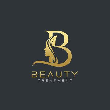 B Letter Luxury Beauty Face Logo Design Vector