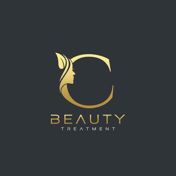 C Letter Luxury Beauty Face Logo Design Vector