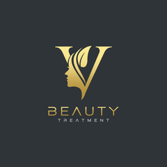V Letter Luxury Beauty Face Logo Design Vector