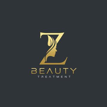 Z Letter Luxury Beauty Face Logo Design Vector