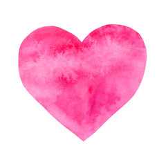 Pink heart, watercolor hand drawn valentine's day symbol isolated on white background.