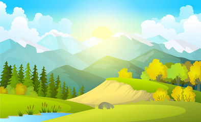 Aluminium Prints Lime green Vector illustration of beautiful summer fields landscape with a dawn, green hills, bright color blue sky, country background in flat cartoon style banner