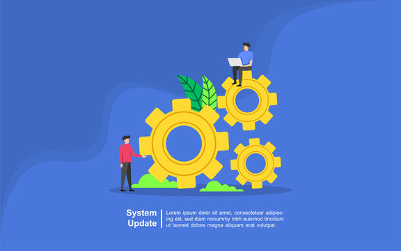 system update vector illustration concept, people update operation system. Improvement Change New Version software. Suitable for web landing page, ui, mobile app, banner template.