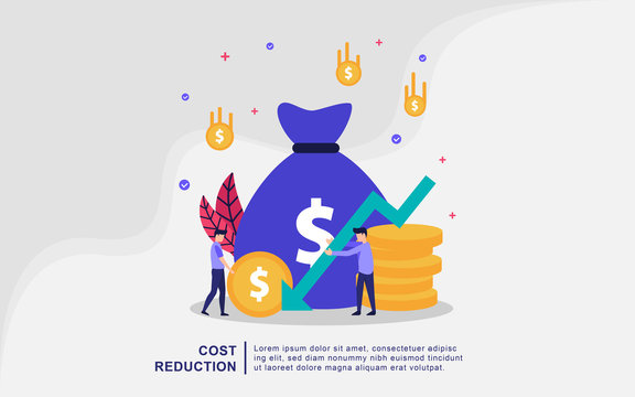 Cost reduction illustration concept with tiny people. Sales decline, crisis financial, financial down. Flat design concept for landing page, presentation, marketing resource