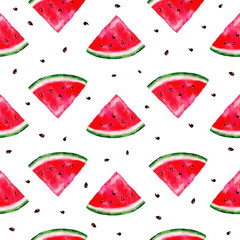 seamless watercolor watermelon pattern