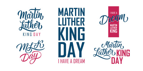 Martin Luther King Day lettering set. MLK day collection. USA national holiday vector illustration.