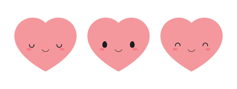 Set of cute pink heart icons. Flat vector illustration.