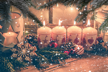 christmas still life with candle and decorations 4. advent