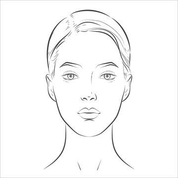 Woman face. Black and white line sketch front portrait