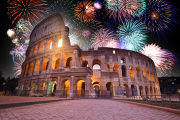 Colorful Fireworks above the Colosseum in Rome, Italy. Celebrating New Years Eve