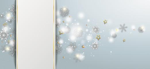 Gray Christmas Banner White Snowflakes Golden Stars