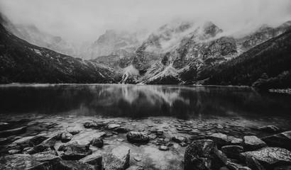 autumn view of Morskie Oko lake, Zakopane in Poland, heavy black and white concept, high noise
