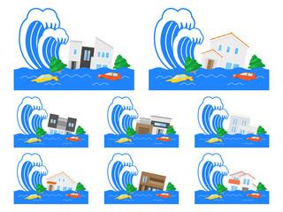 津波のイラストセット