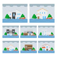 家の浸水のイラストセット