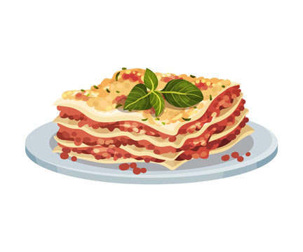 Italian Lasagna Dish Served On Plate With Sauce and Basil On Top Vector Illustration