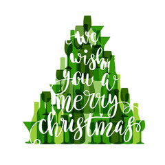 Happy new year poster made with wine and champagne bottles and glasses. Violet Christmas tree on white background. Vector holiday card