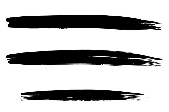 Vector Set of three large and long brush strokes with black artistic ink. Hand drawn illustration isolated on white