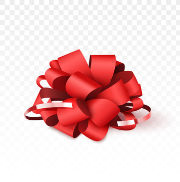 Red bow isolated on white background, Christmas decoration for gift boxes. Vector illustration