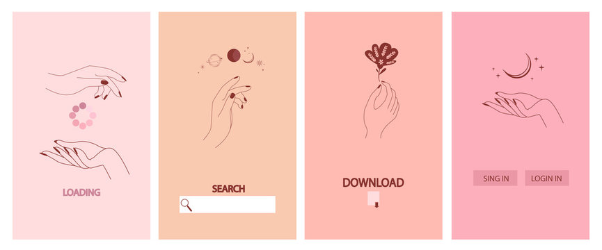 Collection of fine, hand drawn style for Mobile App, Landing page, Web design. Minimalistic objects made in the style of one line. Vector illustration