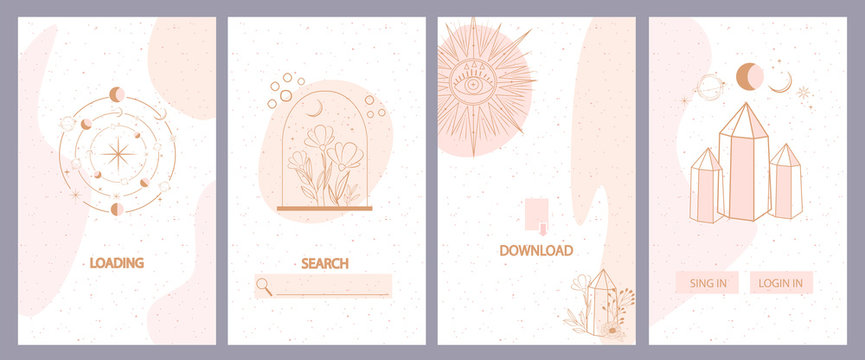 Collection of mystical and mysterious background for social media promotional content. Mobile App, Landing page,Web design in hand drawn style. Minimalistic objects made in the style of one line