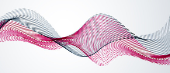 3d particles mesh array, sound wave flowing. Round points vector effect illustration. Blended mesh, future technology relaxing wallpaper. Fotoväggar