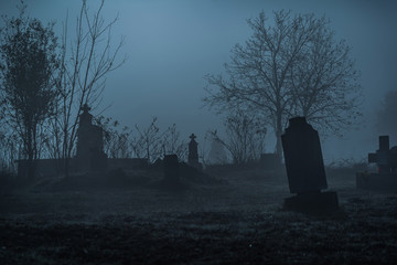 Graveyard in fog Wall mural