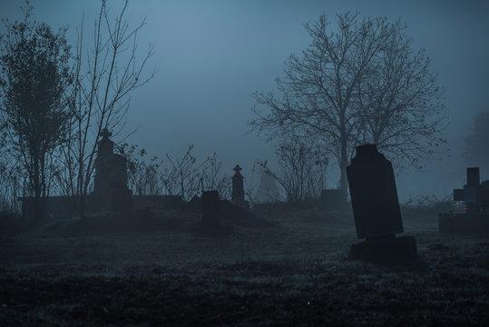 Graveyard in fog