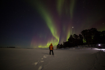 Foto auf AluDibond Nordlicht Northern lights in Inari Lake, Lapland, Finland
