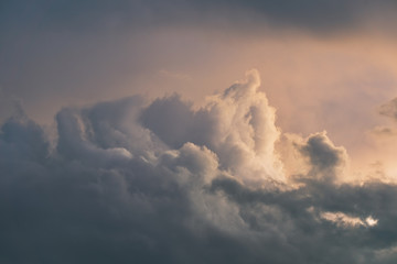 cloudscape with dramatic beautiful clouds at sunset