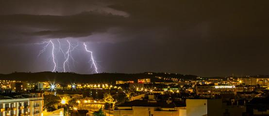 Lightning in Sabadell, Barcelona, Catalonia, Spain