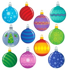Poster Voor kinderen Stylized Christmas ornaments theme set 1