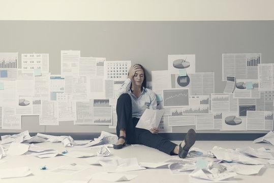 Desperate businesswoman and business failure