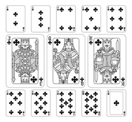 Playing cards clubs set in black and white from a new modern original complete full deck design. Standard poker size.