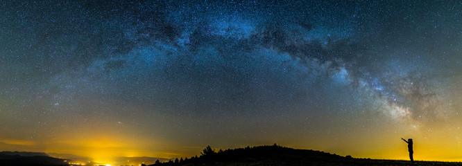 Keuken foto achterwand Heelal Milky way and girl in Montsec, Lleida, Pyrenees, Catalonia, Spain
