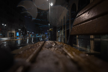 Fotomurales - Rainy streets of Nice in the evening
