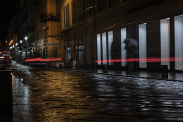 Fotomurales - Streets of the French city of Nice with wet snow and rain