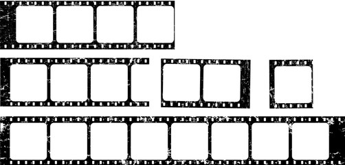 Wall Mural - frames of film, grungy photo film frames,vintage retro,filmstrips with free copy space,vector,fictional artwork