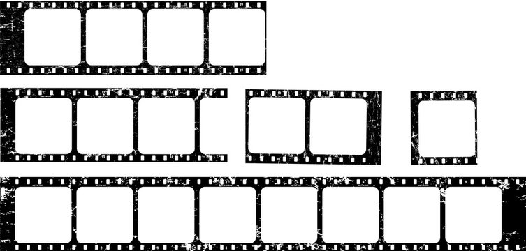 frames of film, grungy photo film frames,vintage retro,filmstrips with free copy space,vector,fictional artwork